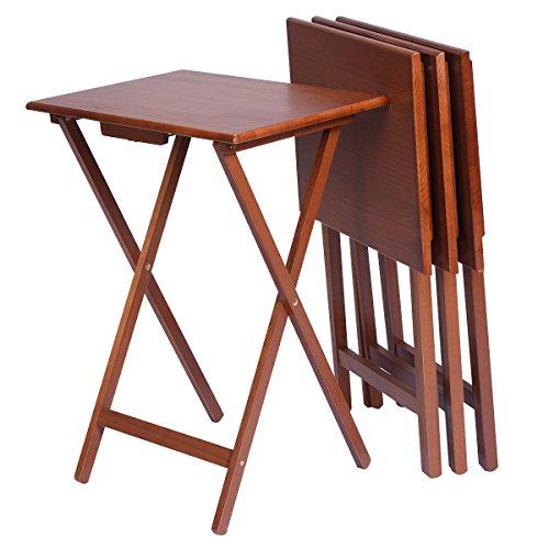 National Office Furniture Cherry Desk (Set of 4 Portable Wood TV Table Folding Tray Desk Serving Furniture Walnut)