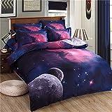 Zhiyuan 3D Solar System Theme Duvet Cover Flat Sheet Pillowcase Set Twin Size