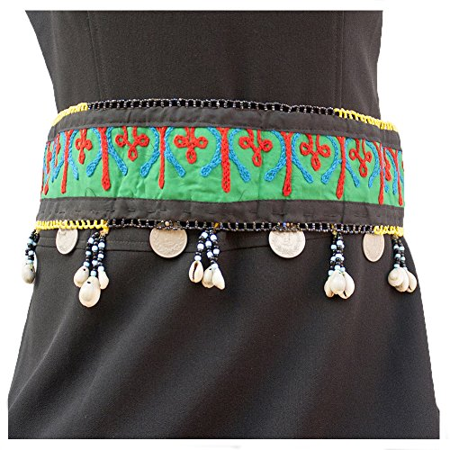Duel on Jewel Tribal Embroidered Fabric Belly Dancers Waist Belt with Shells Mirrors Glass Beads Metal Coins Afghani - Kuchi Metal Belt