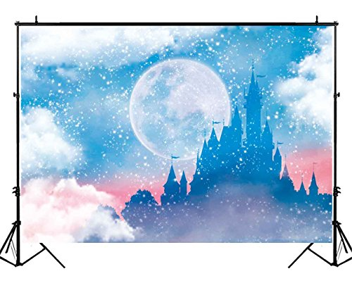 Funnytree 7X5ft Winter Snow Fairytale Castle Photo Backdrop Princess Girl Birthday Party Baby Shower Clouds Ice Watercolor Photography Background Cake Table Decorations Banner