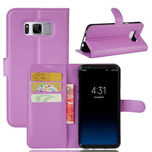Nesee For Samsung Galaxy S8 5.8inch/S8 Plus 6.2Inch Luxury Flip Leather Wallet Case Skin Cover (Purple, 6.2inch)