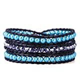 KELITCH Handamde Blue Pearl Crystal Beaded 3 Wrap Bracelet New Top Jewelry