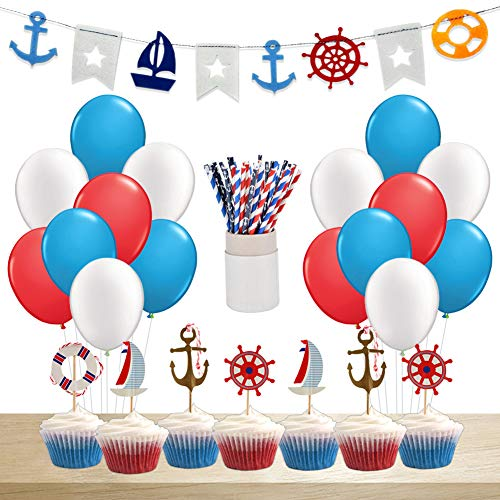 KREATWOW Nautical Baby Shower Decorations for Boy Nautical Birthday Party Supplies -