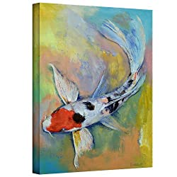 Art Wall Maruten Butterfly Koi Gallery Wrapped Canvas Art By Michael Creese, 32 By 24-inch