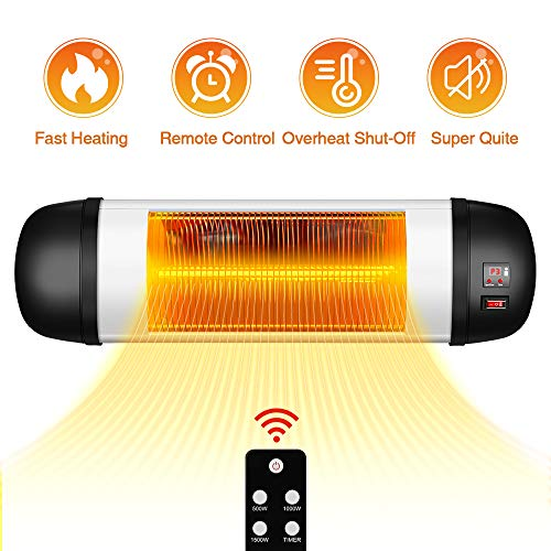 Outdoor Patio Heater- 1500W Garage Heater Infrared Heater w/Remote, 24H Timer Auto Shut Off Outdoor Heater,Super Quiet 3s Instant Warm Wall Heater, Space Heater for Patio, Sunroom, Backyard, Office (Patio Heater Outdoor)