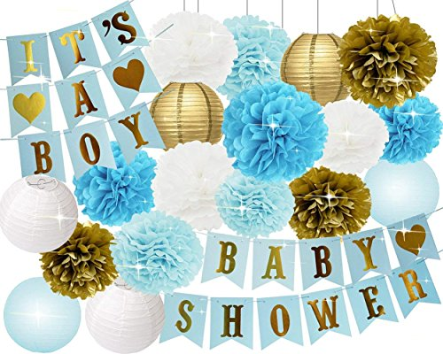 Baby Shower Decorations for Boy Baby Shower Its A BOY Bunting Banner Tissue Paper Pom Poms Paper Honeycomb Balls Paper Lanterns Blue/White/Gold Baby Boy Baby Shower Party Decorations