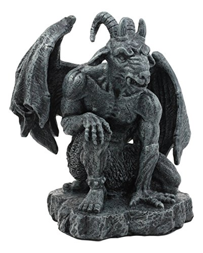 (Ebros The Winged Guardian Baphomet Sabbatic Goat Gothic Gargoyle Statue Faux Stone Resin Sculpture)