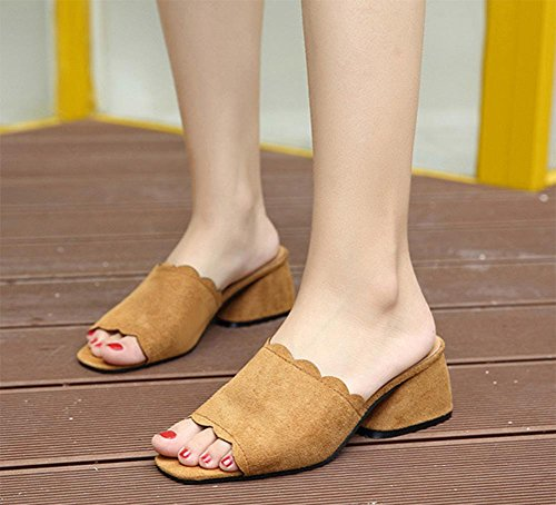 zapatillas de verano de mujeres en bruto con la dama con sandalias y zapatillas de punta abierta zapatos de la cabeza de pescado palabra Brown