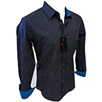 Men's House of Lords Designer Long Sleeve Button Down Shirt Navy Blue Multicolor Geometric Design 2002 #164