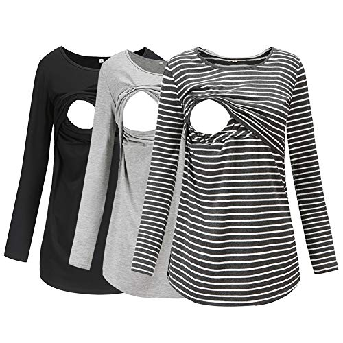 74cabe0f63954 Jezero Women's Long Sleeve Nursing Tops Round Neck Breastfeeding Tunic 3- Pack