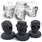 Image of KIDAC Ice Cube Mold Tray BPA Free Creative Skull Mold Food Grade Flexible Silicone Ice Cube Maker (Set of 3 Different Skull Molds)