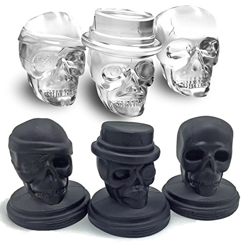KIDAC Ice Cube Mold Tray BPA Free Creative Skull Mold Food Grade Flexible Silicone Ice Cube Maker (Set of 3 Different Skull Molds)