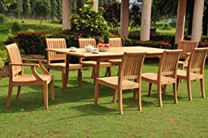 """Lagos 9 Pc Luxurious Grade-A Teak Dining Set - 94"""" Double Extension Rectangle Table & 8 Chairs (6 Armless & 2 Arm / Captain)"""
