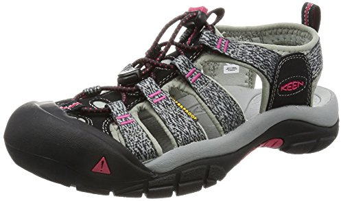 KEEN Women's Newport H2 Sandal, Black/Bright Rose, 9.5 M US