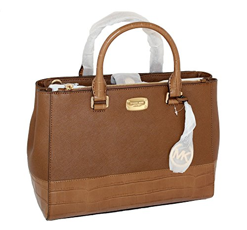 MICHAEL Michael Kors Women's KELLEN MEDIUM SATCHEL LEATHER Shoulder Handbags (Luggage) by MICHAEL Michael Kors