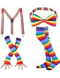 Stripe High Socks - Womens Knee High Socks Rainbow Fingerless Gloves Colorful Bow Tie Suspender Accessories Set Halloween