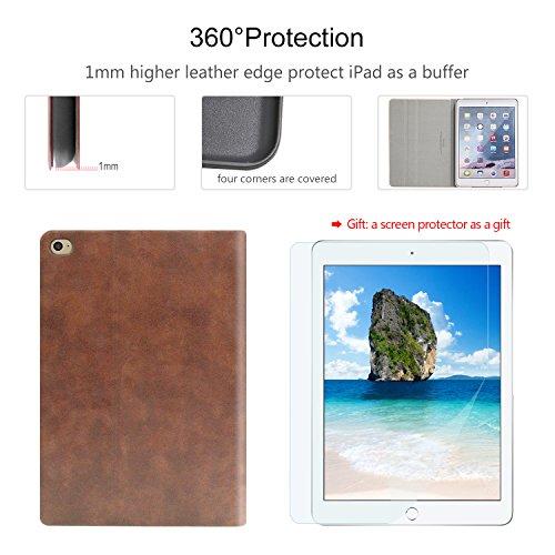 iPad Air 2 Case, AUAUA iPad Air 2 PU Leather Case with Smart Cover Auto Sleep/Wake +Screen Protector for Apple iPad Air 2 (iPad Air 2 case, Air2 Choco Brown) by auaua (Image #3)