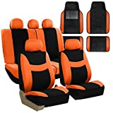 FH GROUP FH-FB030115 Light & Breezy Cloth Seat Cover Set Airbag & Split Ready with Premium Carpet Floor Mats Orange / Black- Fit Most Car