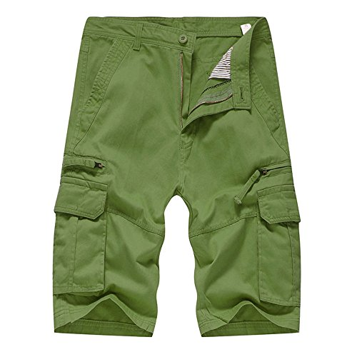 (Realdo Men's Solid Shorts, Casual Pure Color Outdoors Pocket Work Trouser Cargo Pant(Army Green,36))