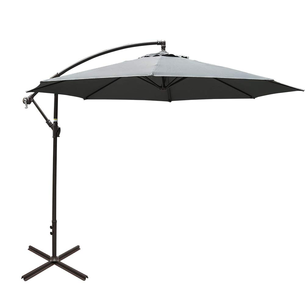 Sundale Outdoor 10FT Offset Umbrella Cantilever Umbrella Hanging Patio  Umbrella with Crank and Cross Bar Set, Steel Ribs, Polyester Canopy Shade  for
