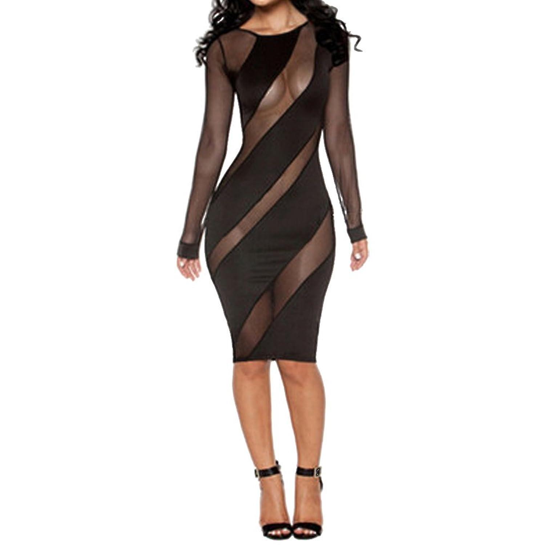 Youngerbaby Women's Sexy Black Mesh Night Club Bodycon Dress