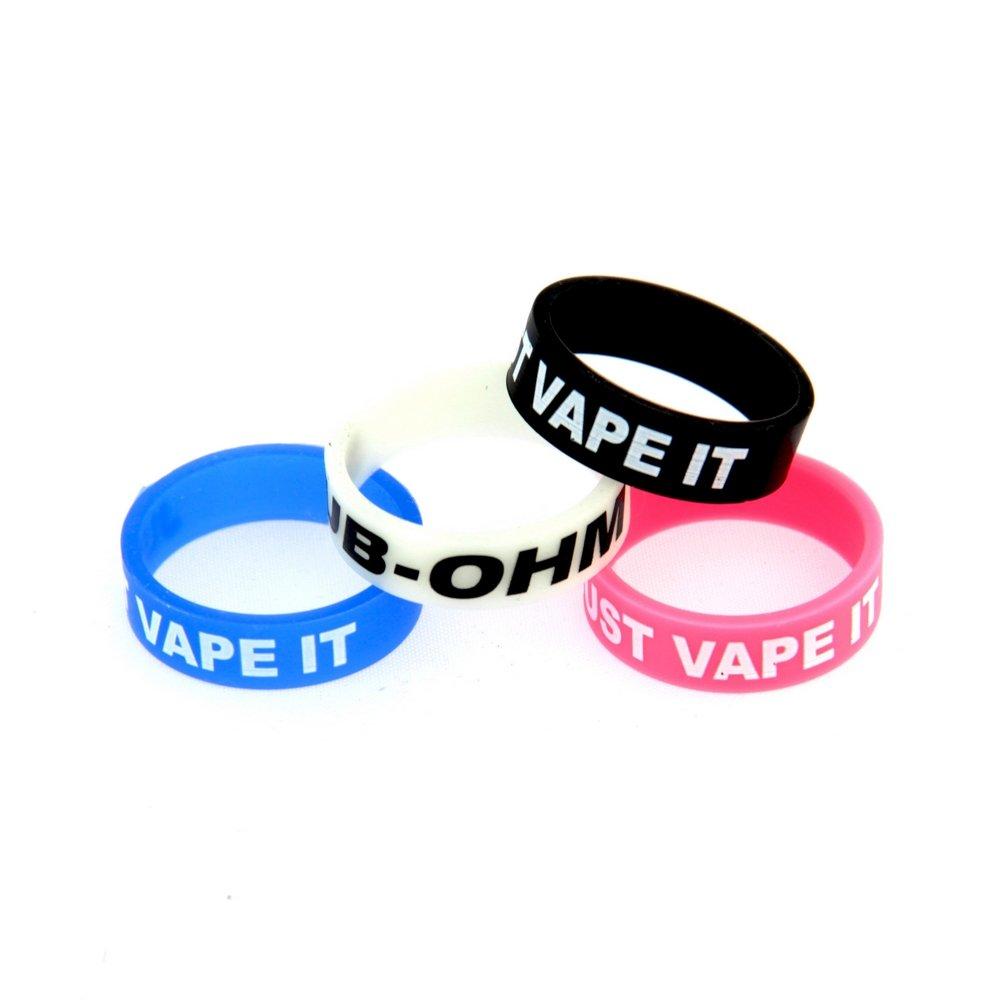 Caringa - Anillos protectores de silicona, de colores, de 22 mm, para proteger el atomizador del cigarrillo electrónico, 5 unidades