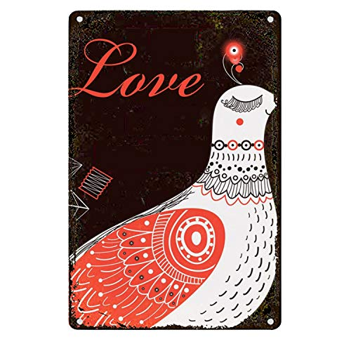 Decorative Signs Metal Iron Tin Sign Vintage Retro Bright-greeting-card-love-birds-vector-14410147 Wall Decoration Art Bar Home Decor