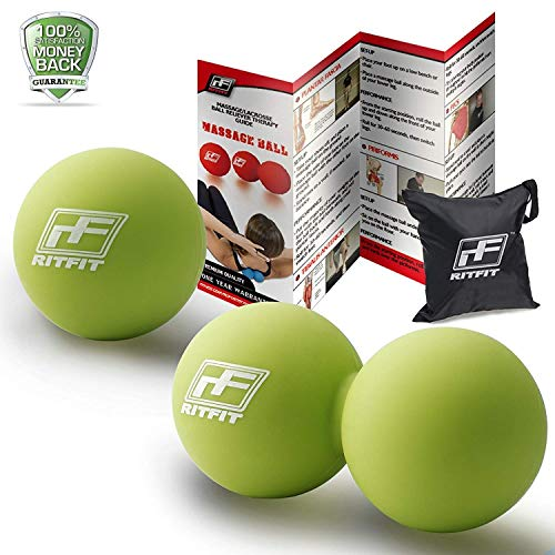 RitFit Peanut Massage Lacrosse Ball for Myofascial Release, Trigger Point Therapy, Muscle Knots, and Yoga Therapy. Bonus Single Massage Ball (Green/Green) ()
