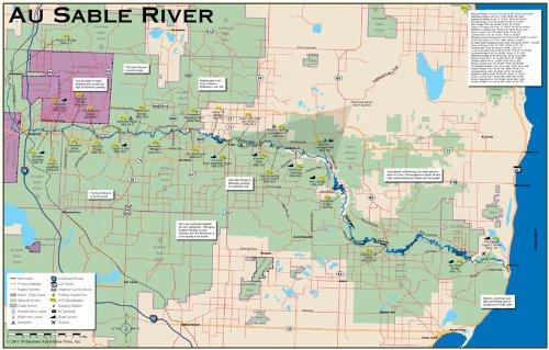 Amazon.com : Au Sable River (Michigan) 11x17 Fly Fishing Map ...