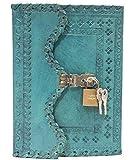 Mangal Murti Handicrafts Leather Handmade Notebook Diary with Metal Lock - Aqua Blue