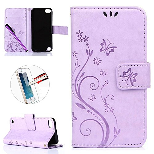 iPod Touch 5 6 Case, ISADENSER Embossed Wallet Flip Case Luxury PU Leather Notebook Design Wallet for iPod Touch 5th 6th +1pcs Screen Protector +1pcs Stylus Pen Light Purple Butterfly (Ipod 5 Cases With Design Flip)