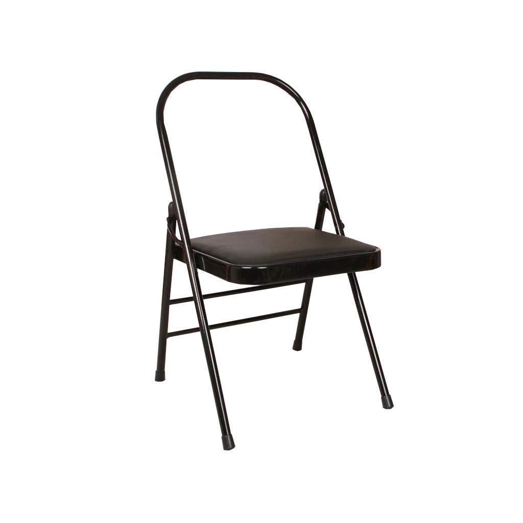 QZ HOME Stühle, Klappstuhl Sonnenliege Computer Stuhl Hilfsstuhl Treffen Schach Einfach Büro Student (Farbe : SCHWARZ)