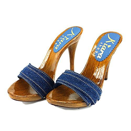 Shoes Kiara Para km7101 Zuecos Jeans Lona De Mujer pqF1wqf