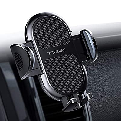 TORRAS Cell Phone Holder for Car, Hands-Hug Air Vent Car Phone Mount Cradle Compatible with iPhone 11 Pro Max / 11 / XR/Xs Max/X / 8/7 / SE, Samsung Galaxy S20 Ultra / S20+ / S10 / S9 and More