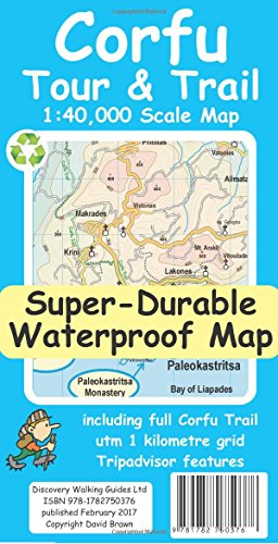Corfu Tour and Trail Super-Durable (Corfu Greece Map)