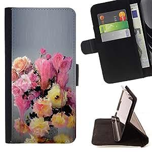 """For Motorola Moto E ( 2nd Generation ),S-type Pintura Flores colores en colores pastel"""" - Dibujo PU billetera de cuero Funda Case Caso de la piel de la bolsa protectora"""