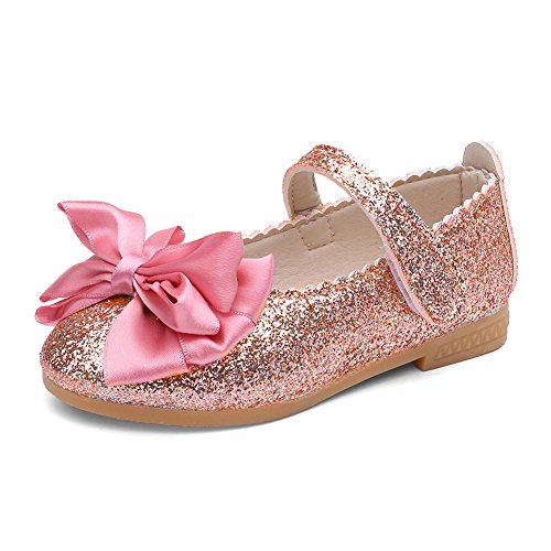 Beaded Flat - CIOR Toddler Girls Ballet Flats Shoes Beaded Rhinestone Ballerina Bowknot Mary Wedding for Party Princess Dress from Merence,VGZ01,G.Pink,28