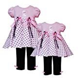 Rare Editions Baby/Infant Girls 3M-24M 2-Piece PINK BLACK POLKA DOT RIBBON POODLE Special Occasion Birthday Party Dress/Leggings Outfit Set-3/6M-RRE-42540F-F842540