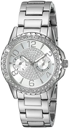 GUESS Women's U0705L1 Sporty Silver-Tone Stainless Steel Watch with Multi-function Dial and Pilot - Buckle Tone Silver