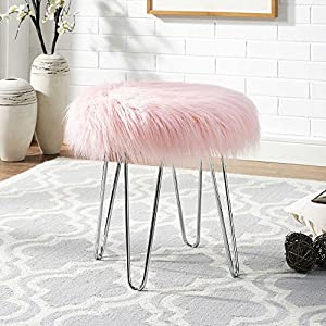 Amazon Com Pink Faux Fur Ottoman Stool Kitchen Amp Dining