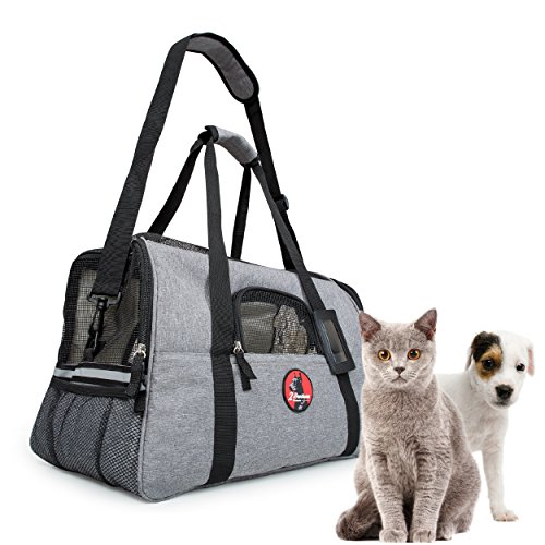 Airline Approved Pet Carrier Under Seat - Anxiety Reducing for Safe Secure Happy Travel - 2 Extra Free Soft Fleece Beds - Dogs and Cats Love It and Feel Right at Home and Fall Asleep. Donates to ASPCA
