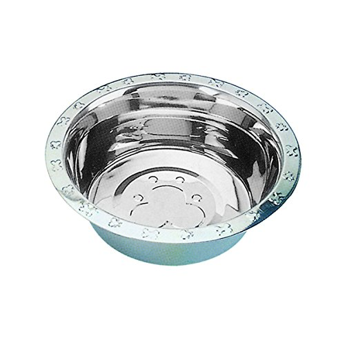 Qt Dog Embossed Rim Standard Stainless Steel Food Bowl, 5 Quart