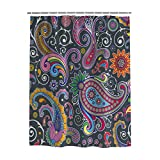 100% Polyester Fabric Shower Curtain Bathroom Decorations - Color Paisley Pattern Wallpaper - Durable Waterproof Mildew Resistant Bath Curtain Sets with 12 Hooks,Machine Washable 72'x72'