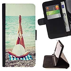 Dragon Case- Mappen-Kasten-Prima caja de la PU billetera de cuero con ranuras para tarjetas, efectivo Compartimiento desmontable y correa para la mu?eca FOR Samsung Galaxy S6 Edge G9250 G925F- California Summer
