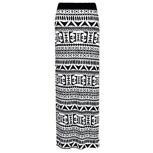 Janisramone Femmes Dames Nouveau Imprim Longue Jersey Bodycon lastique Waist Stretchy Gitan Maxi Jupe Big Aztque