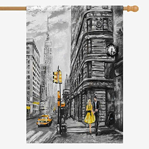 InterestPrint Vintage Street View of NYC New York City Yellow Taxi Decorative Flag House Flag House Banner for Wishing Party Wedding Yard Home Decor 28