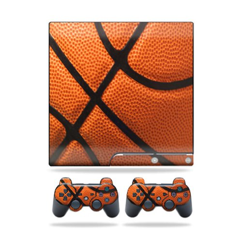 MightySkins Protective Vinyl Skin Decal Cover for Sony Playstation 3 PS3 Slim skins + 2 Controller skins Sticker Basketball