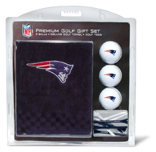 Team Golf NFL New England Patriots Gift Set Embroidered Golf Towel, 3 Golf Balls, and 14 Golf Tees 2-3/4