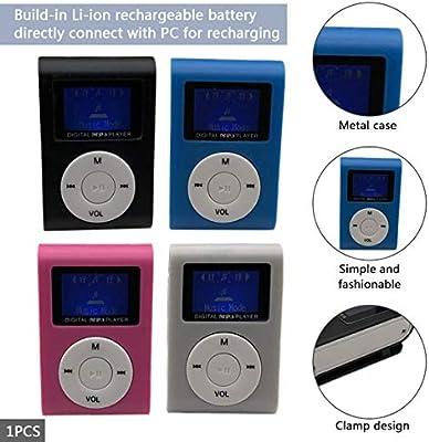 Funnyrunstore Reproductor de MP3 port/átil de peque/ño tama/ño Mini Pantalla LCD Reproductor de MP3 Reproductor de m/úsica Soporte Tarjeta de 32GB TF