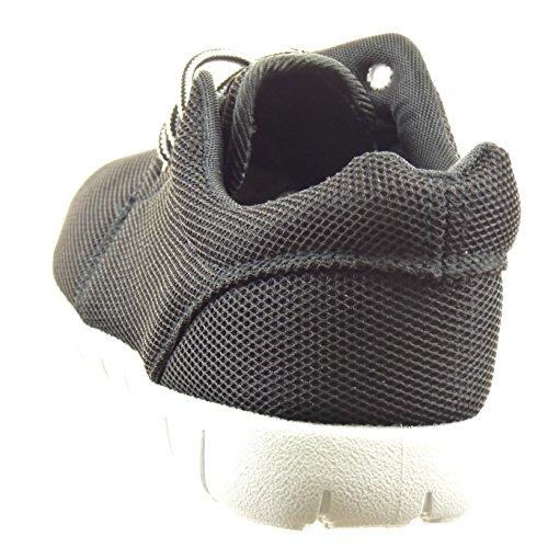 Sopily - Chaussure Mode Baskets Cheville femmes Talon bloc 2.5 CM - Noir